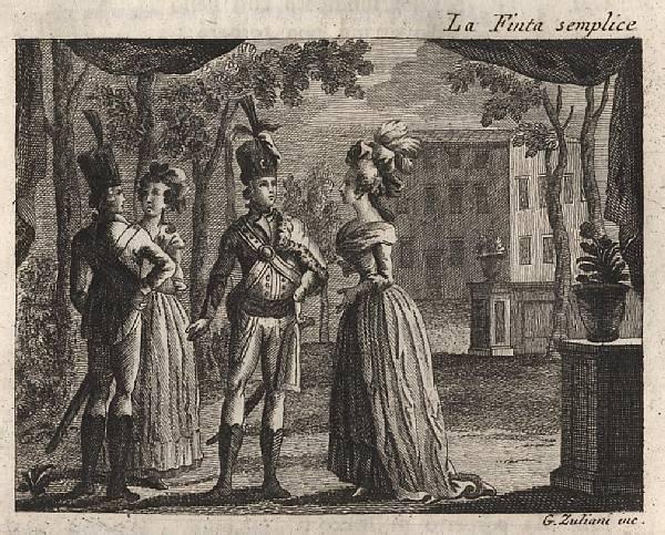 Giuliano Zuliani, illustrazione della Finta semplice (I.1), in Carlo Goldoni, Opere teatrali, Venezia